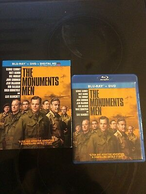 The Monuments Men (Blu-ray Disc, 2014) NEW  w/ slipcover   NO SHRINK WRAP/DVD