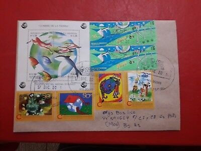 Argentina cover with top block of the earth and Ecologia stamps