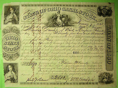 Ohio Canal Bond, 1845,  $2,500. five nice vignettes,  from England.
