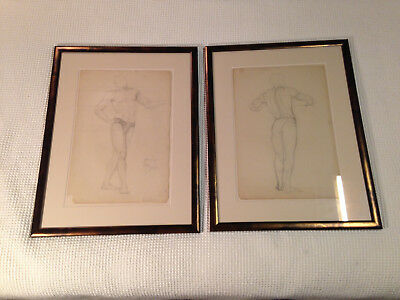 """PAIR OF 1920's ART CLASS SCHOOL NATURAL MALE DRAWINGS 20""""x25"""" GLASS COPPER FRAME"""
