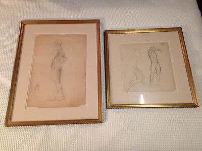 """PAIR OF 1920's ART CLASS SCHOOL NATURAL MALE DRAWINGS 20""""x25"""" GLASS GOLD FRAMES"""