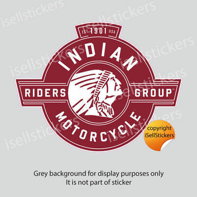 BM-12046 Indian Motorcycle Riders Group Maroon Bumper Sticker Window Decal