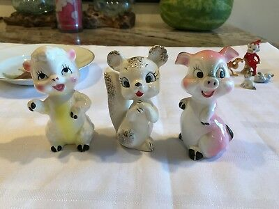 Vintage Sheep, Squirrel And Pig Figurines Made In Japan