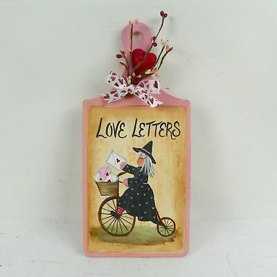 Valentine Decor Wall Plaque Hand Painted Folk Art Witch  Love Letters RJPE