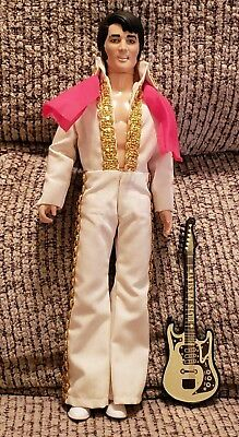Vintage Elvis Presley doll with scarf and Guitar