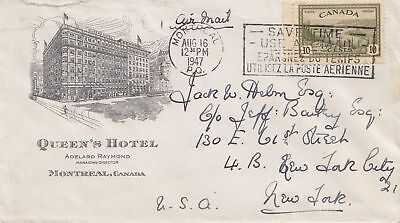 Canada: 1947: Montreal air mail to New York - Queens Hotel