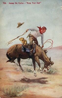 754 Among The Cactus Keep Your Seat Cowboy Riding Horse Western Postcard