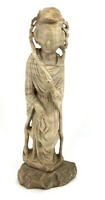 """Antique Chinese Hand-Carved Guan Yin Kwan Yin Soapstone Statue 22"""" Tall"""