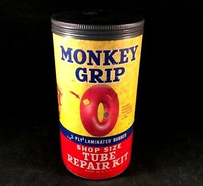 Vintage MONKEY GRIP TIRE TUBE REPAIR PATCH KIT Rare Old Advertising Can Gas Oil