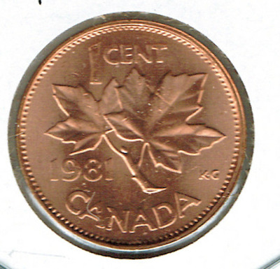1981 Canadian Uncirculated One Cent Elizabeth II Coin!