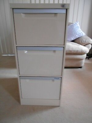 Filing Cabinet 3 drawer with hanging files & key in VGC
