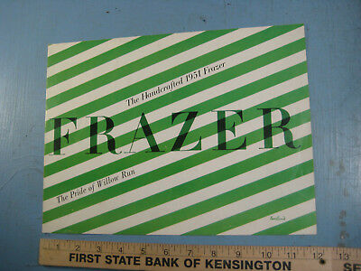 """1951 Frazer Dealership Brochure, Green Stripes, """"Pride of Willow Run"""" Fold Out"""