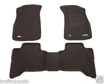 To suit Toyota Hilux Dual Cab SR5 2012 - 2015 -  3D Black Rubber Floor Car Mats
