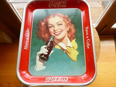 Coca-Cola Coke Redhead Girl with Yellow Scarf Vintage Serving Tray - early 50's