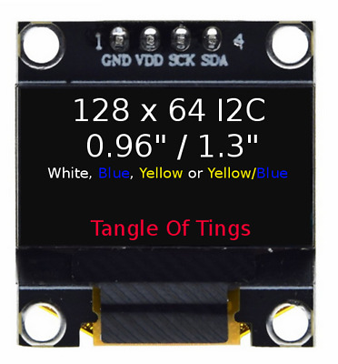 "128x64 OLED I2C White/Blue/BlueYellow 0.96"" 1.3"" Arduino Display SSD1306 SH1106"