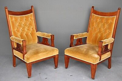 Rare pair Australian Federation armchairs solid blackwood 1900s colonial antique