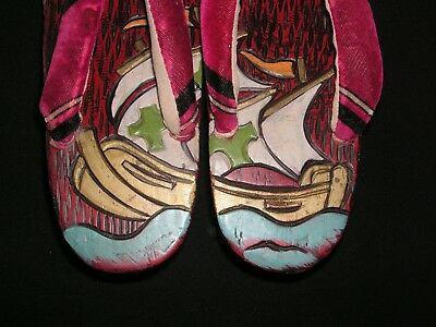 Antique Vintage Japanese Carved Wood Geta Sandals Shoes Galleon Sail Ships Boats