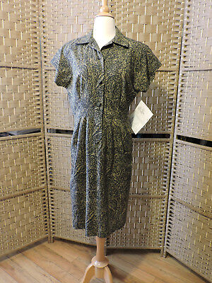 Vintage Dress Size M Black Tan Paisley Short Sleeve Knee Length Polyester 1980s