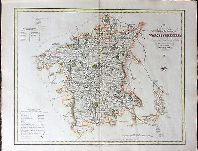 Scarce Map of WORCESTERSHIRE c1838 by Ebden & J Duncan, Original county map