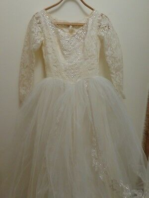 Vintage 1950's? Antique Lace Ivory Tulle Wedding Dress Bridal Gown Train & slip