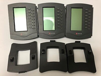 Lot of 3 Polycom Soundpoint IP 601 Expansion Modules 2200-11700-025 w/ Stands