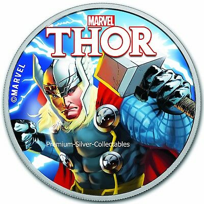2018 Tuvalu Marvel Series Thor!  .9999 - 1 Ounce Pure Silver Colorized!!