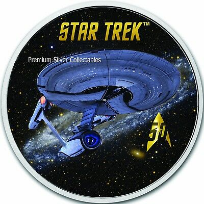 2018 Tuvalu Star Trek Series Enterprise!  - 1 Ounce Pure Silver Colorized!!