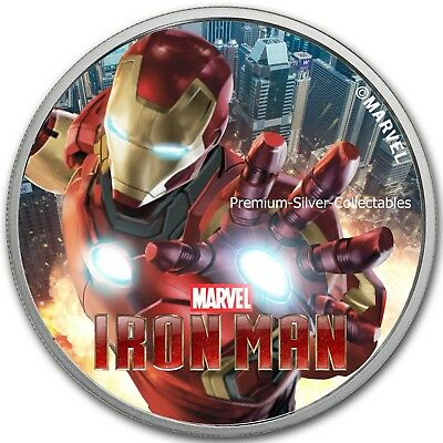 2018 Tuvalu Marvel Series Iron Man!  .9999 - 1 Ounce Pure Silver Colorized!!