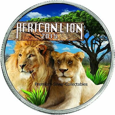 2015 Republic of Burundi Lion - 1 Ounce Pure Silver Colorized Lion Series!!