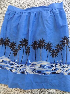 Blue Half Apron with Palm Trees & Sailboats ~ Vintage ~ Handmade ~ NWOT