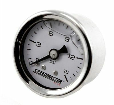 "Fuel Pressure Gauge 0-15 PSI Liquid Filled 1 /1/2"" Diameter Full Sweep Holley"