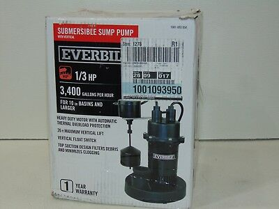 Everbilt Sump Pump 1/3 HP Vertical Float Switch Submersible Aluminum Housing