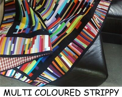 """NEW - Hand Made Quilt """"MULTI COLOURED STRIPPY"""" Design by Quilt-Addicts 88"""" x 64"""""""