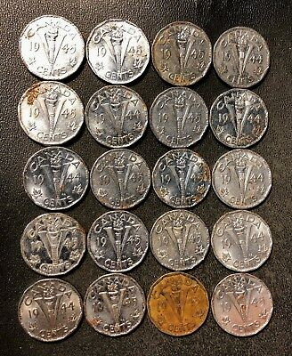 Old Canada Coin Lot - WW2 VICTORY NICKELS - 20 COINS - Lot #J18