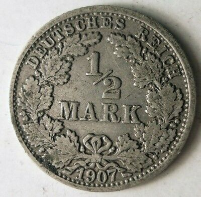 1907 F GERMAN EMPIRE 1/2 MARK - RARE Silver Coin - Lot #J18