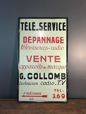 Vintage hand painted French Television Repair Sign 1950's/60's
