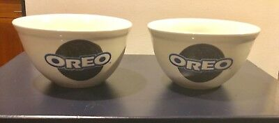 "Two Oreo Cookie Nabisco Cereal Ice Cream Bowls 5 1/2"" Excellent"