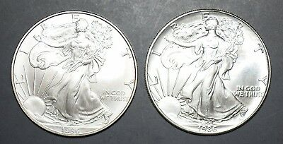 American Eagle Silver Coins 1986 And 1996 Scarcer Dates Bu