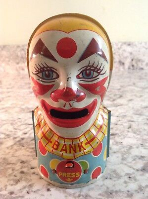 Vintage Estate J. Chein Tin Litho Working Mechanical Clown Bank - No Key
