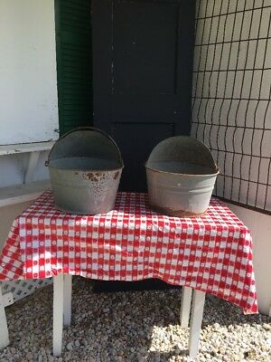 Vintage Galvanized Metal Hooded Chicken Feed Buckets Set Of 2 RARE