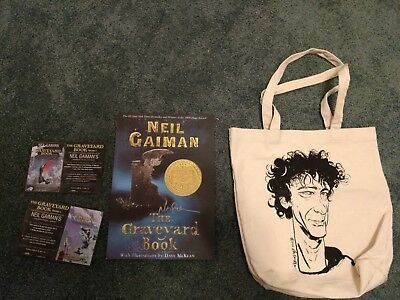 Neil Gaiman Lot Signed Graveyard Book  Poster Tote Bag and Graveyard Promo Cards