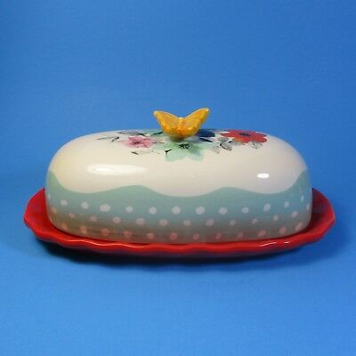 Pioneer Woman FLEA MARKET Covered Butter Dish with Tag Gibson Stoneware