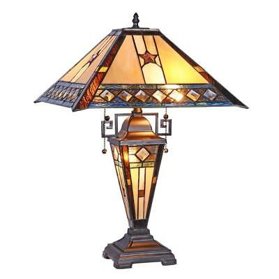 Stained Glass Chloe Lighting Mission Double Lit Table Lamp CH38847PM16-DT3