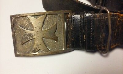 "Vintage Early Masonic Free Masons 36"" Leather Belt & Buckle Sterling???"