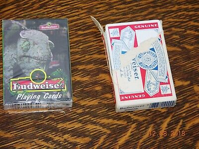 Budweiser Beer Iguana Or Lizard Playing Cards (Unopened) & Bud Label Cards Opend