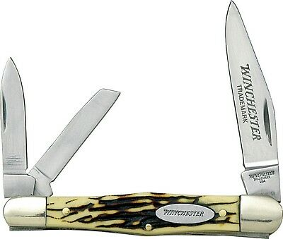 """Winchester Whittler Pocket Knife Buckstag Handle 3 1/2"""" Closed W40-14070 New"""