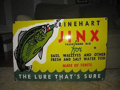 Old Jinx Fishing Lure Porcelain Sign