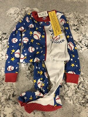 NWT The Childrens Place Boys Stretchie Sleeper Pajamas Baseball size 3T