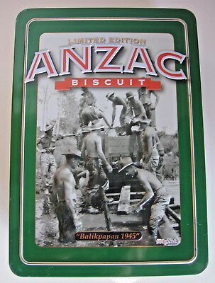 "LIMITED EDITION UNIBIC ANZAC BISCUIT TIN "" BALIKPAPAN"" 1945  Collectable"