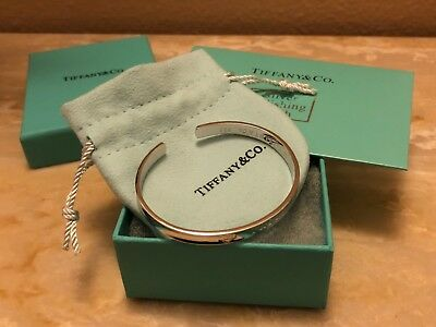 Tiffany & Co. 925 Sterling Silver T&Co Blue Enamel Heart Charm 4mm Bead Bracelet
